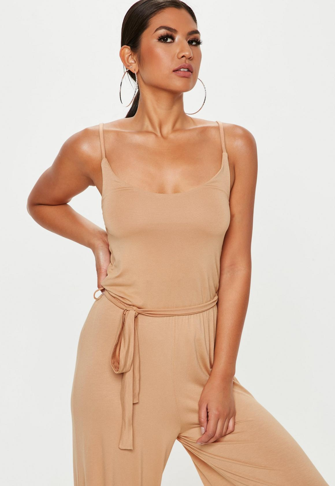 53d97792802 Missguided - Nude Slouch Cami Wide Leg Jumpsuit