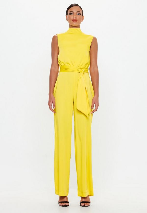 ae3bdad35a0f Peace + Love Yellow Satin High Neck Belted Jumpsuit
