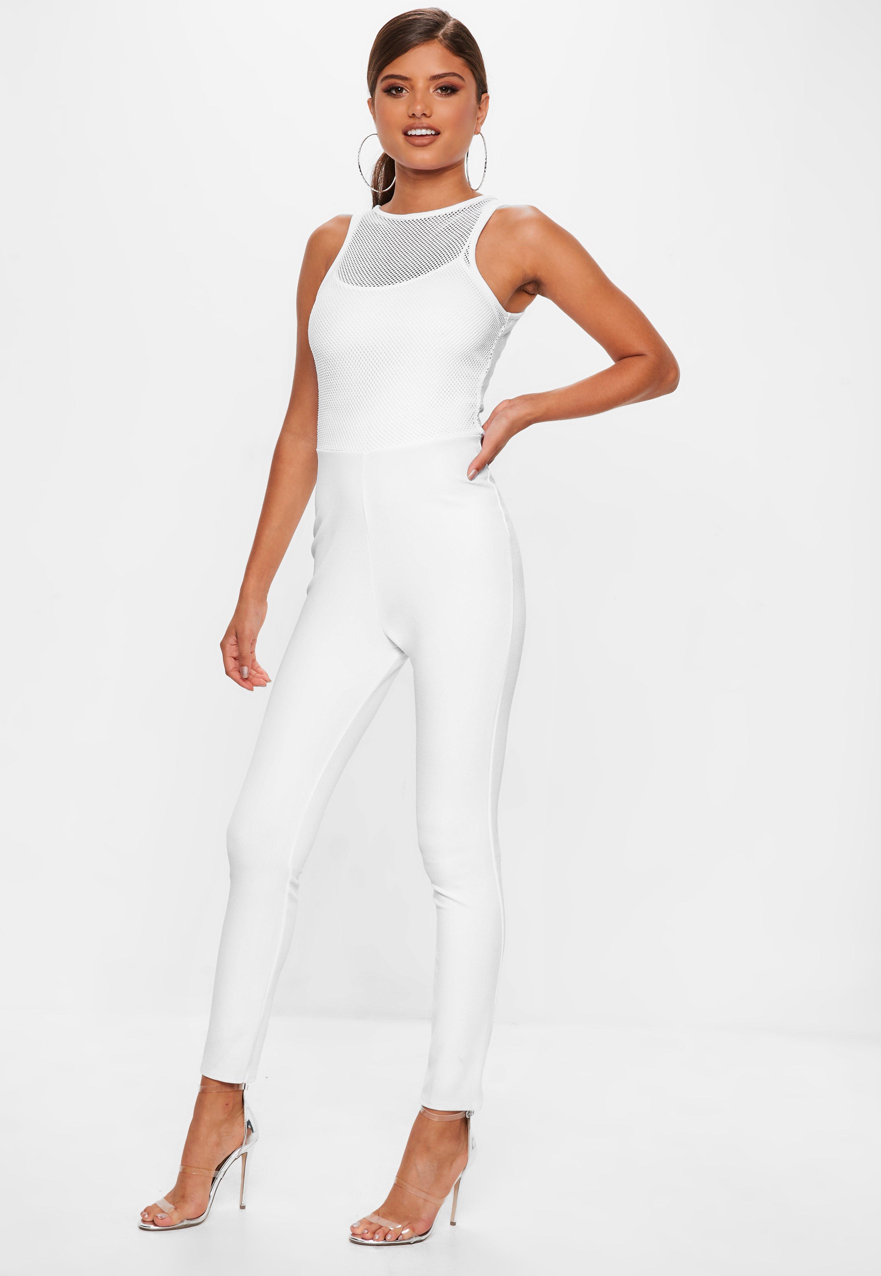 5adf90e6c8a779 White Fishnet Top Jumpsuit