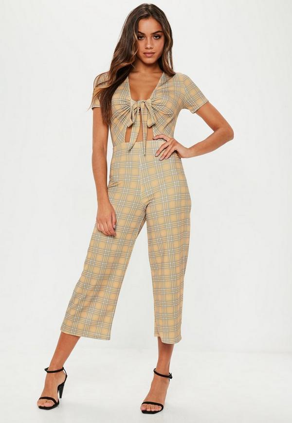 07078840bd85 Mustard Check Tie Front Culotte Jumpsuit