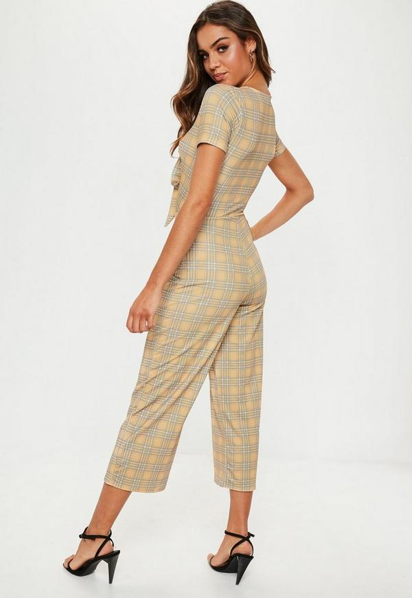 29df4a3018b Mustard Check Tie Front Culotte Jumpsuit. Previous Next