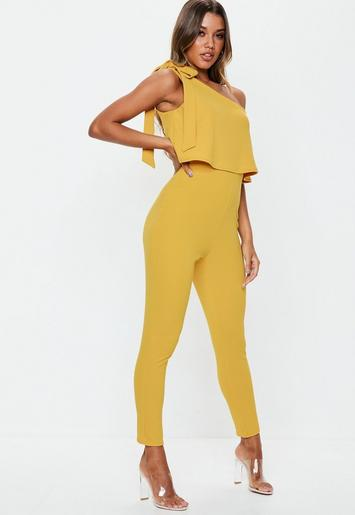 Mustard One Shoulder Bow Jumpsuit Missguided