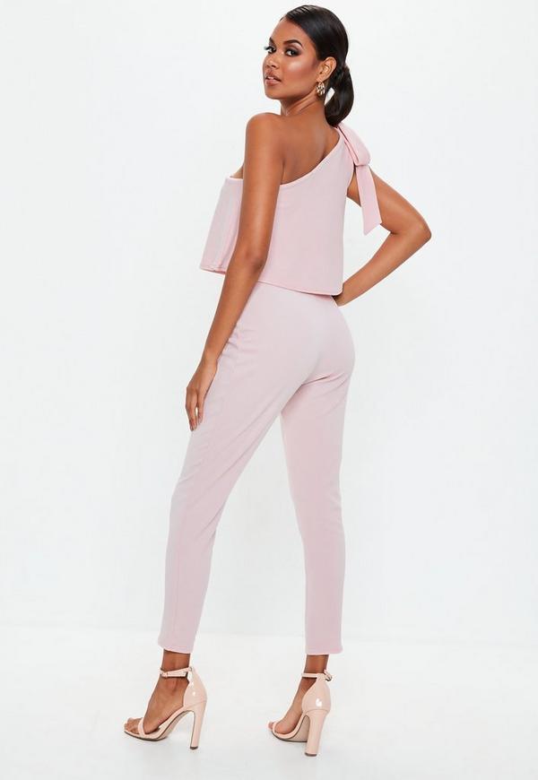 1314fec5b5c Pink One Shoulder Bow Jumpsuit