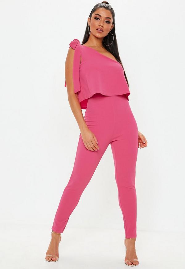 f822678e6c7 Pink One Shoulder Bow Skinny Jumpsuit