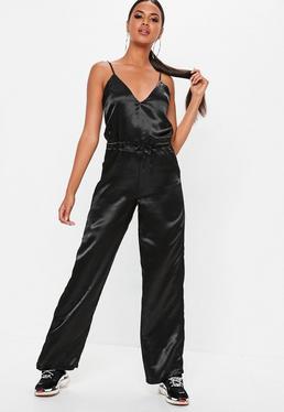 fda231a5fa2 Yellow Satin Cowl Jumpsuit · Black Satin Wide Leg Jumpsuit