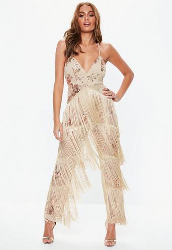 Rose Gold Sequin Fringe Jumpsuit Missguided