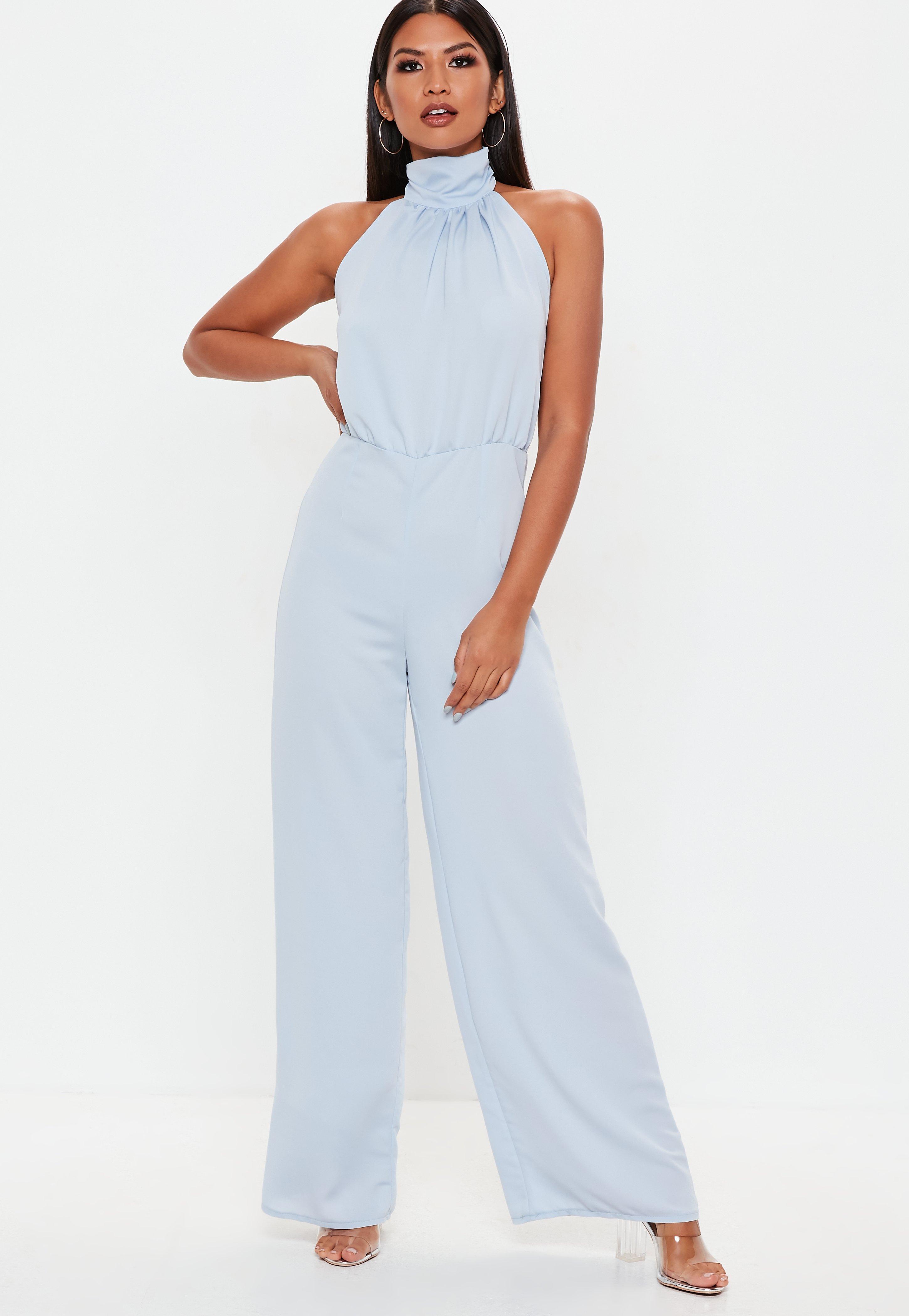 25fee8e62e28 Baby Blue Halterneck Wide Leg Jumpsuit