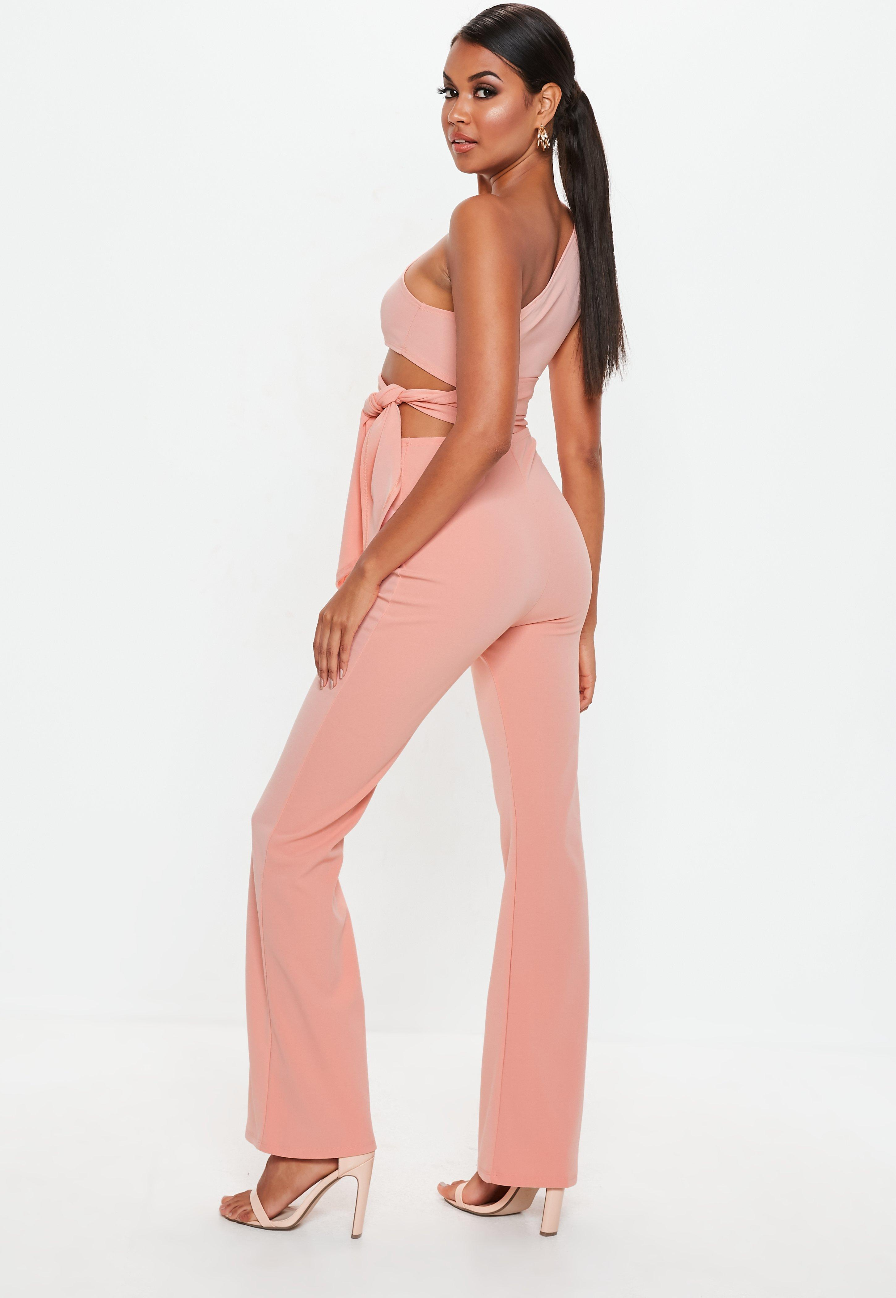 3f51052000 Peach Cut Out Side Tie Jumpsuit