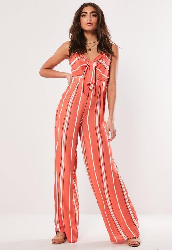 1aa1d1bbb508 Red Stripe Tie Front Wide Leg Jumpsuit