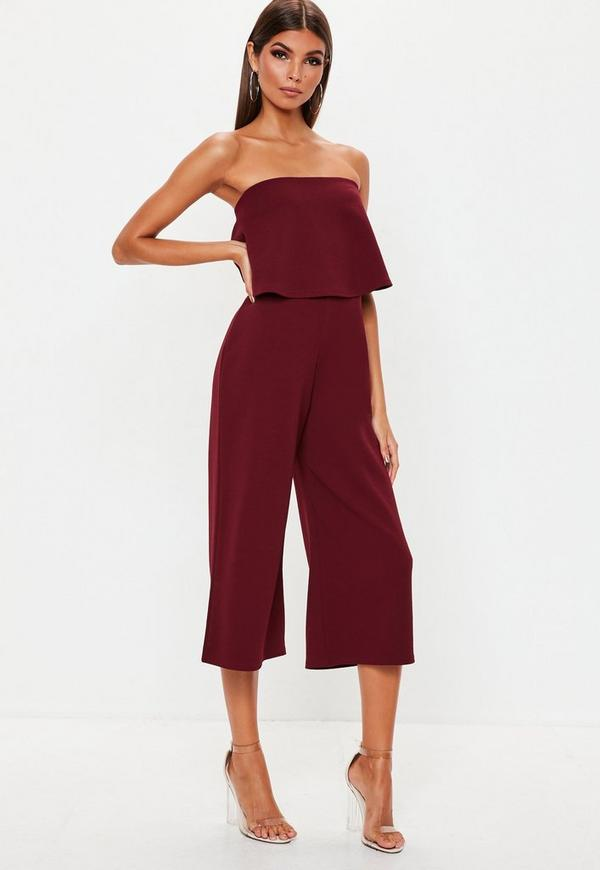 6d06565ac6 Burgundy Double Layer Culotte Jumpsuit