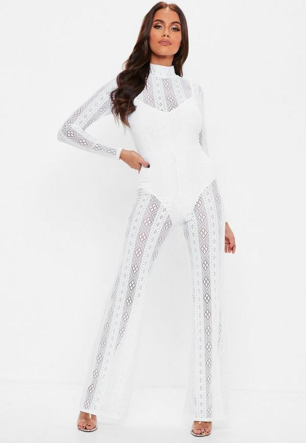 White Long Sleeve Lace Jumpsuit Missguided