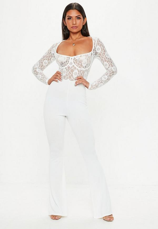 a828a759221 White Lace Cupped Jumpsuit