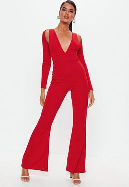 7cd4f4a5414 Grey Double Layer Culotte Jumpsuit · Red Long Sleeve Cut Out Jumpsuit