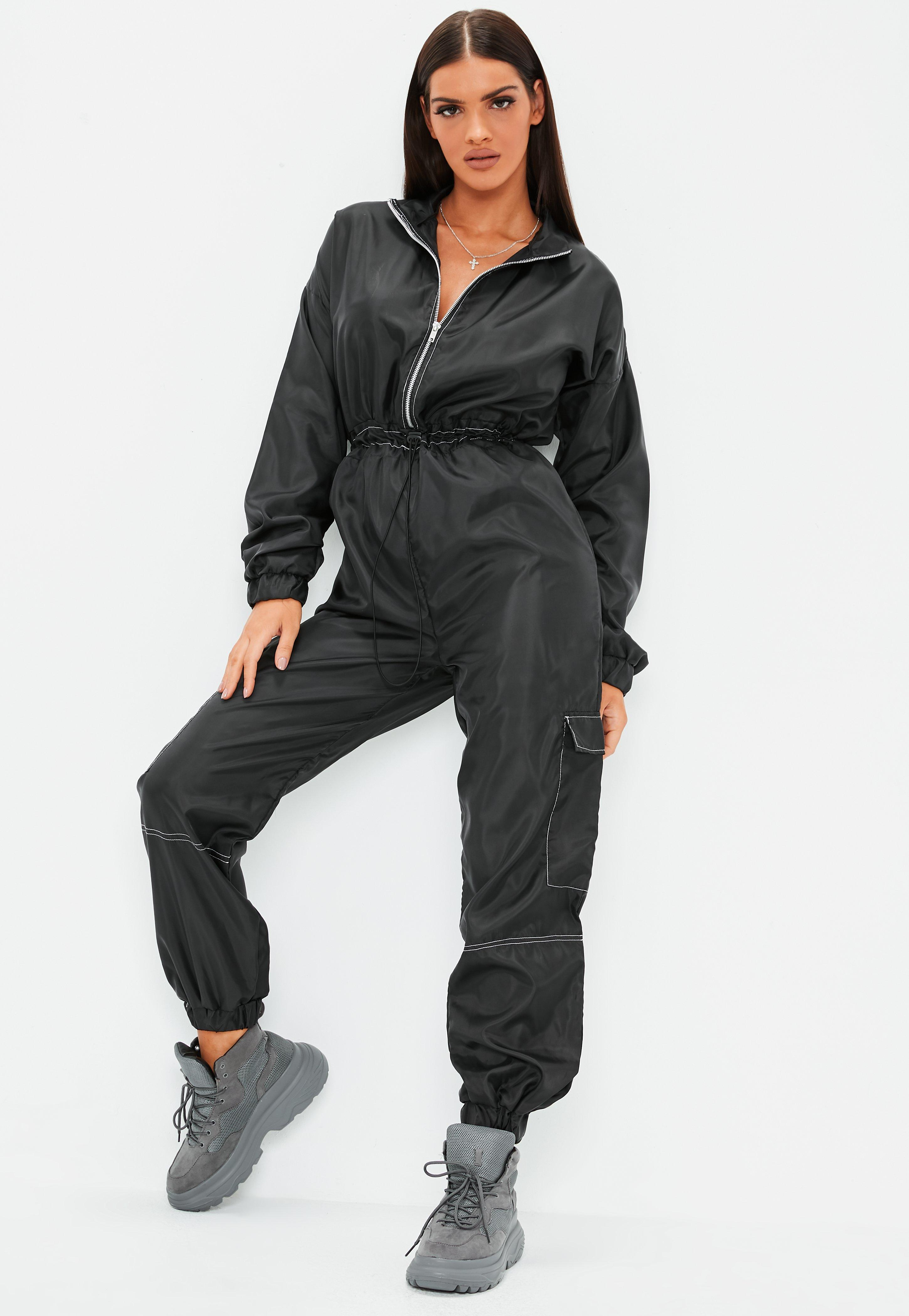 f4cf5080be2b Black Zip Front Toggle Shell Jumpsuit