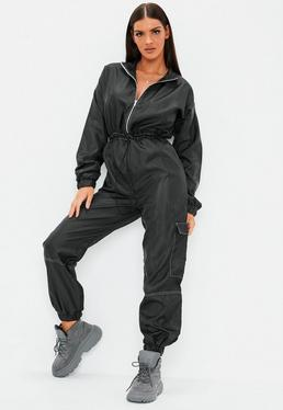 1fcb38bd7a21 Black Zip Front Toggle Shell Jumpsuit