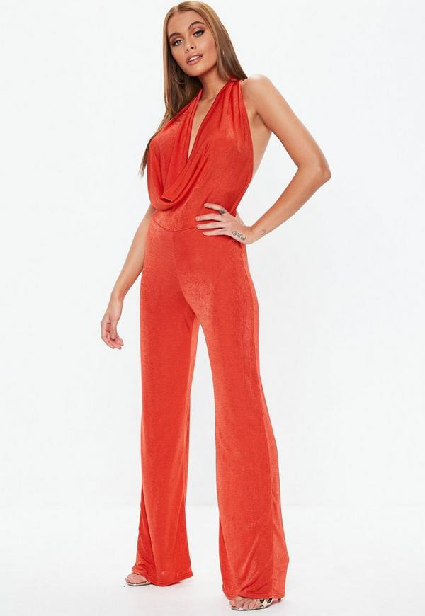30c21616d11 ... Orange Slinky Halter Cowl Neck Jumpsuit. Previous Next