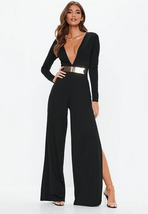 d39054d5b0 £25.00. Black Belted Plunge Jumpsuit