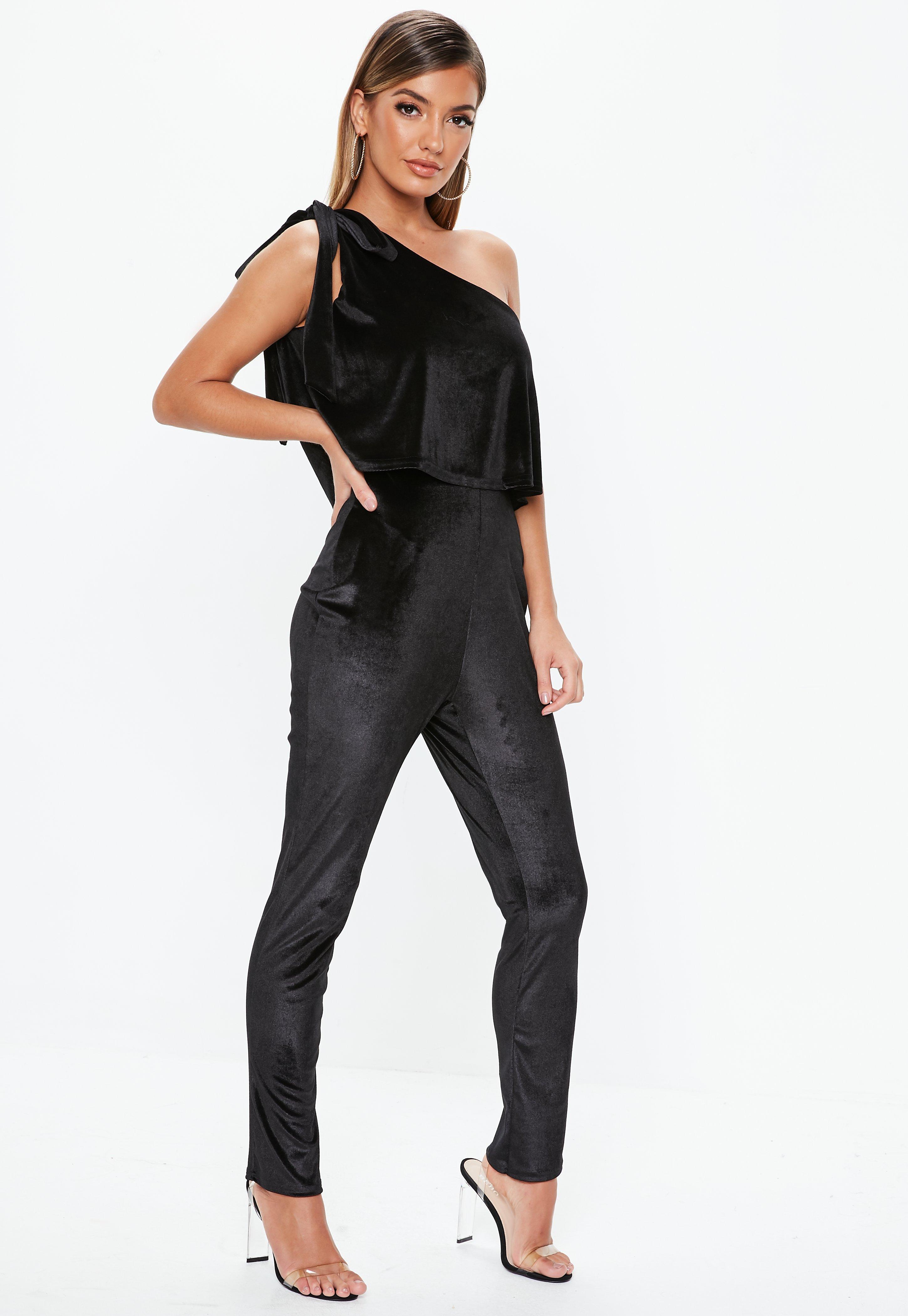 a8b44b24b3 Black Velvet One Shoulder Bow Jumpsuit