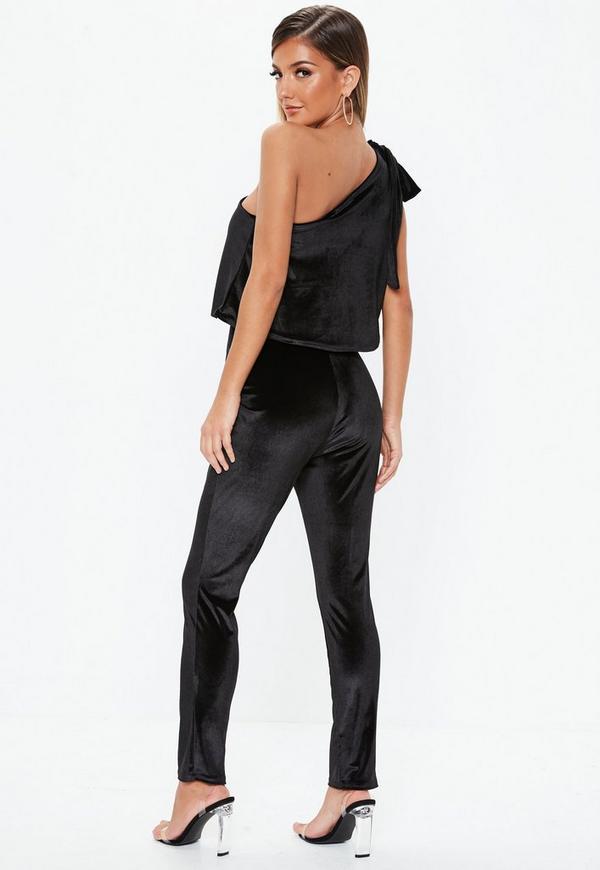 cd50cc79054 Black Velvet One Shoulder Bow Jumpsuit. Previous Next
