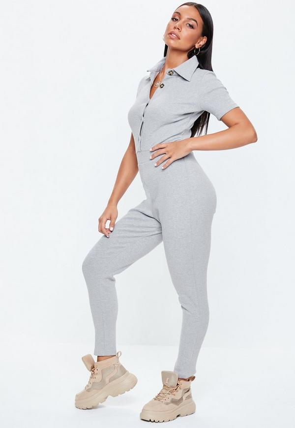 a7d774edde8 Grey Horn Button Ribbed Jumpsuit
