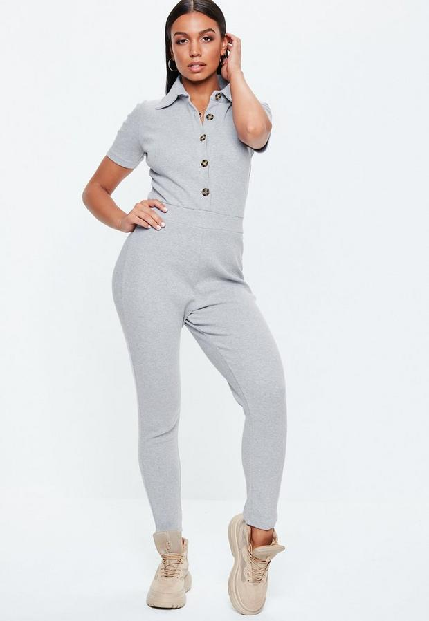 Missguided - Horn Button Ribbed Jumpsuit - 2