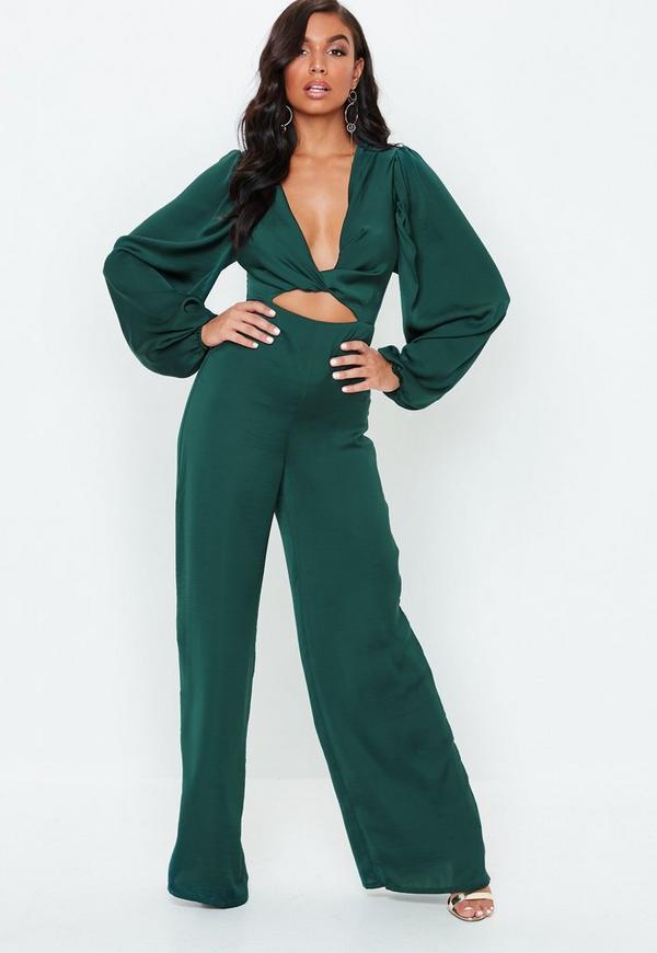 e28504d8c484 Green Satin Knot Front Wide Leg Jumpsuit