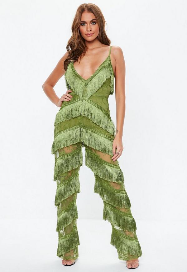 e674ff2c585 Green Plunge Fringe Lace Jumpsuit