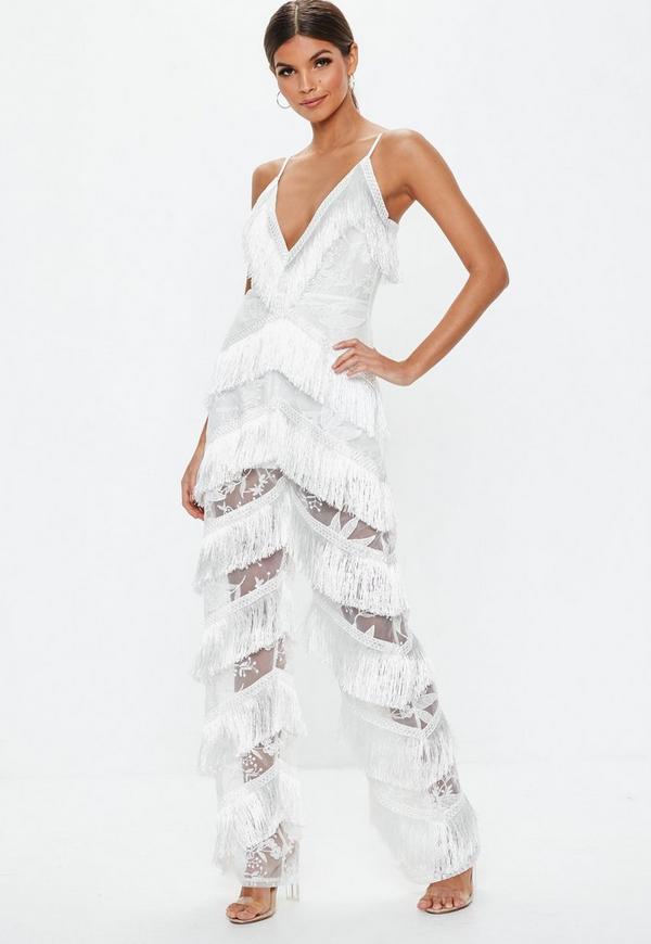 e2db4a7d5e9 ... White Plunge Fringe Lace Jumpsuit. Previous Next