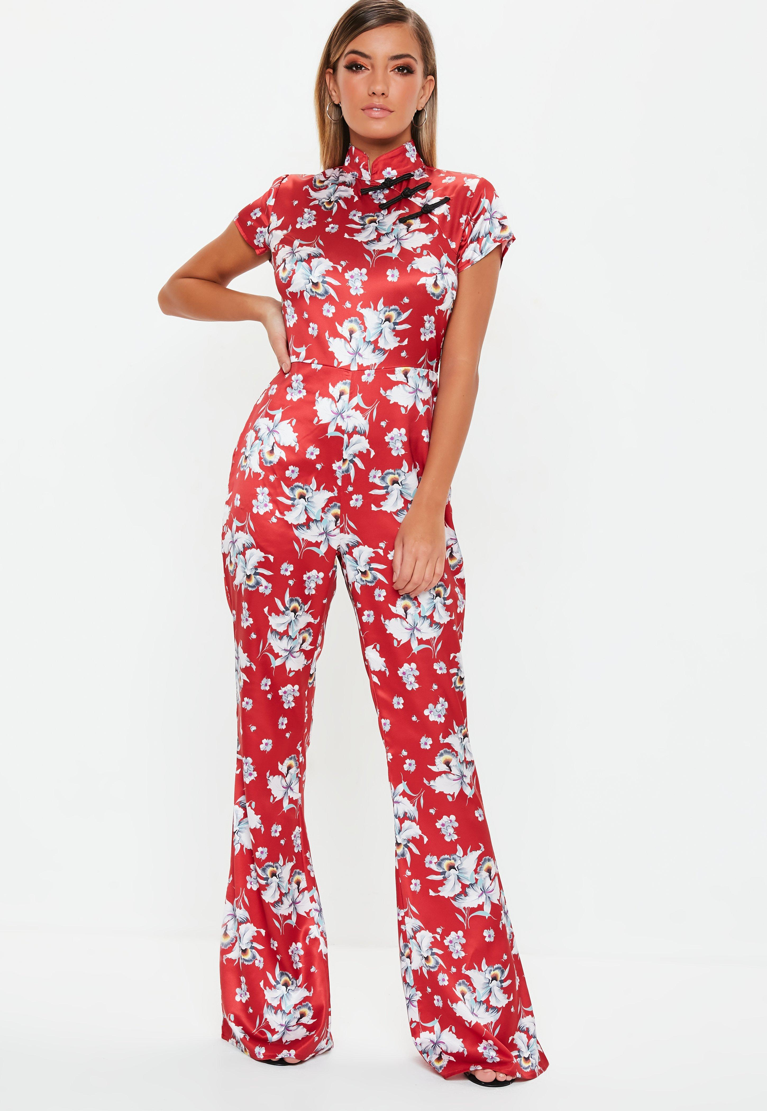 26698a1654 Red Floral Satin Flared Jumpsuit