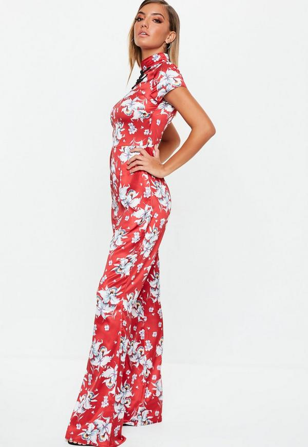 9bfee7687bc6 Red Floral Satin Flared Jumpsuit. Previous Next