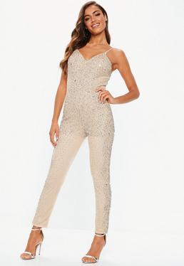 58cd32865b2 Lime Sequin Flared Leg Jumpsuit · premium nude crystal embellished jumpsuit