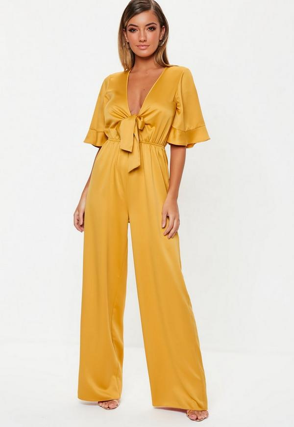 5303e3ae981f Mustard Kimono Sleeve Satin Wide Leg Jumpsuit