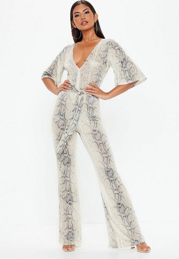 9bb597e2be5 Grey Snake Print Kimono Style Sleeve Jumpsuit