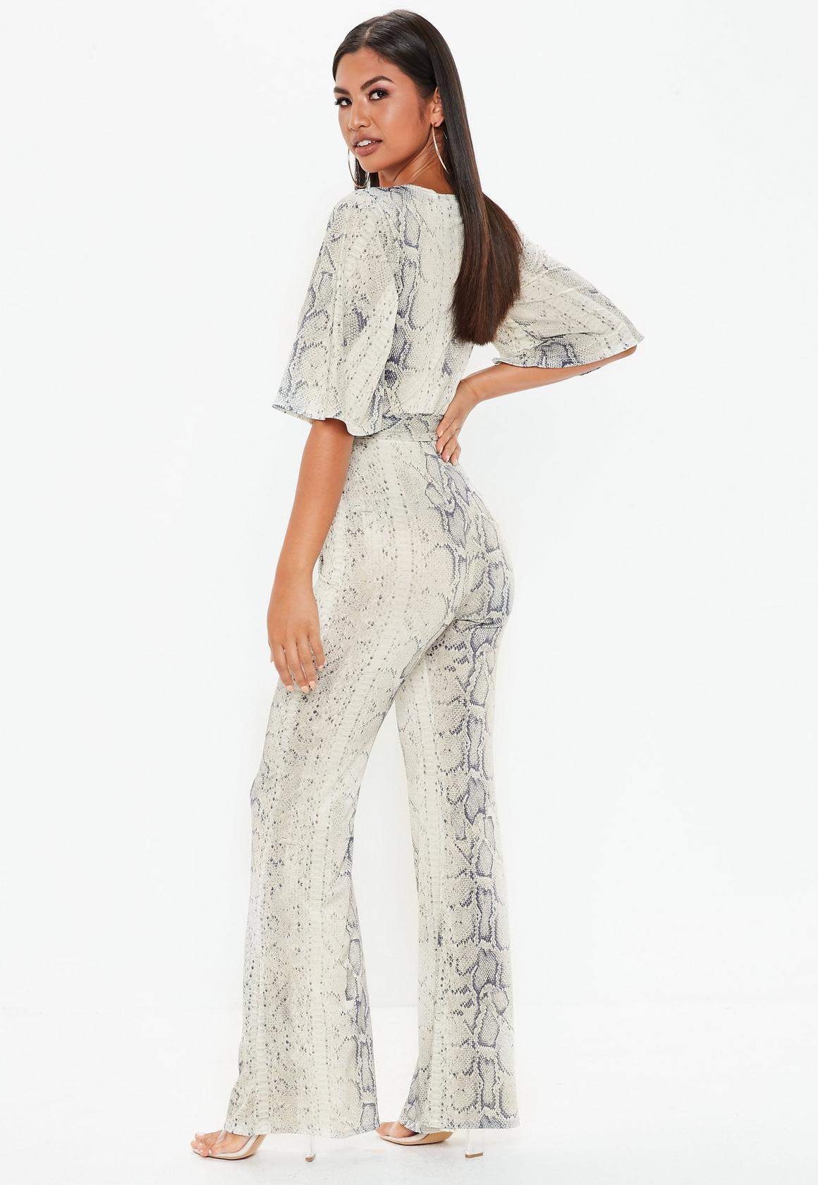 7ab99d3403e Missguided - Grey Snake Print Kimono Style Sleeve Jumpsuit