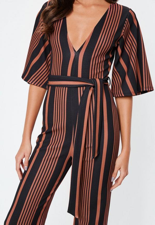 964888a476b Rust Stripe Kimono Sleeve Jumpsuit. Previous Next