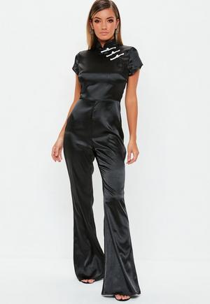 7e92537c7f09 £12.80. black satin flared jumpsuit