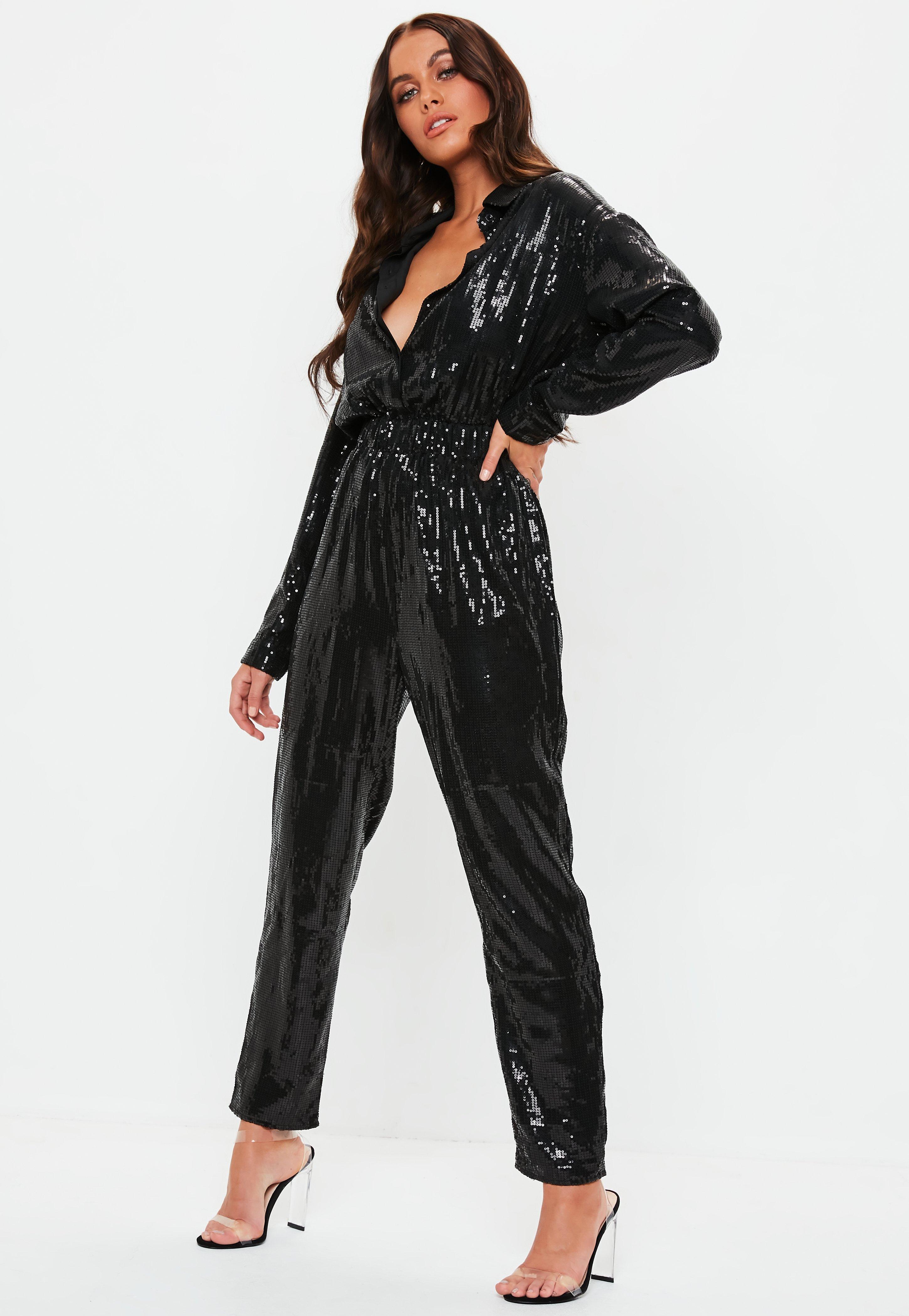 5b9bf996c89 Black Sequin Shirt Jumpsuit