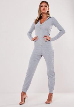 bccb08d2963f Grey Off Shoulder Drawstring Jumpsuit · Grey Zip Collared Ribbed Jumpsuit