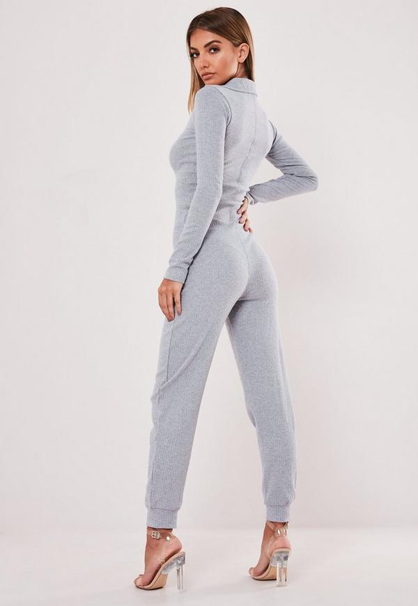 6534a5890e34 Grey Zip Collared Ribbed Jumpsuit. Previous Next