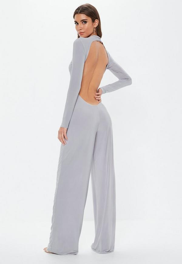 42e4b89a0743 Grey Open Back Slinky Jumpsuit