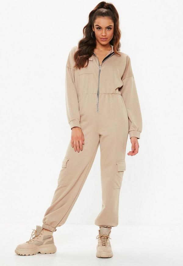 1c84d58c1a2 Camel Sweater Cargo Jumpsuit