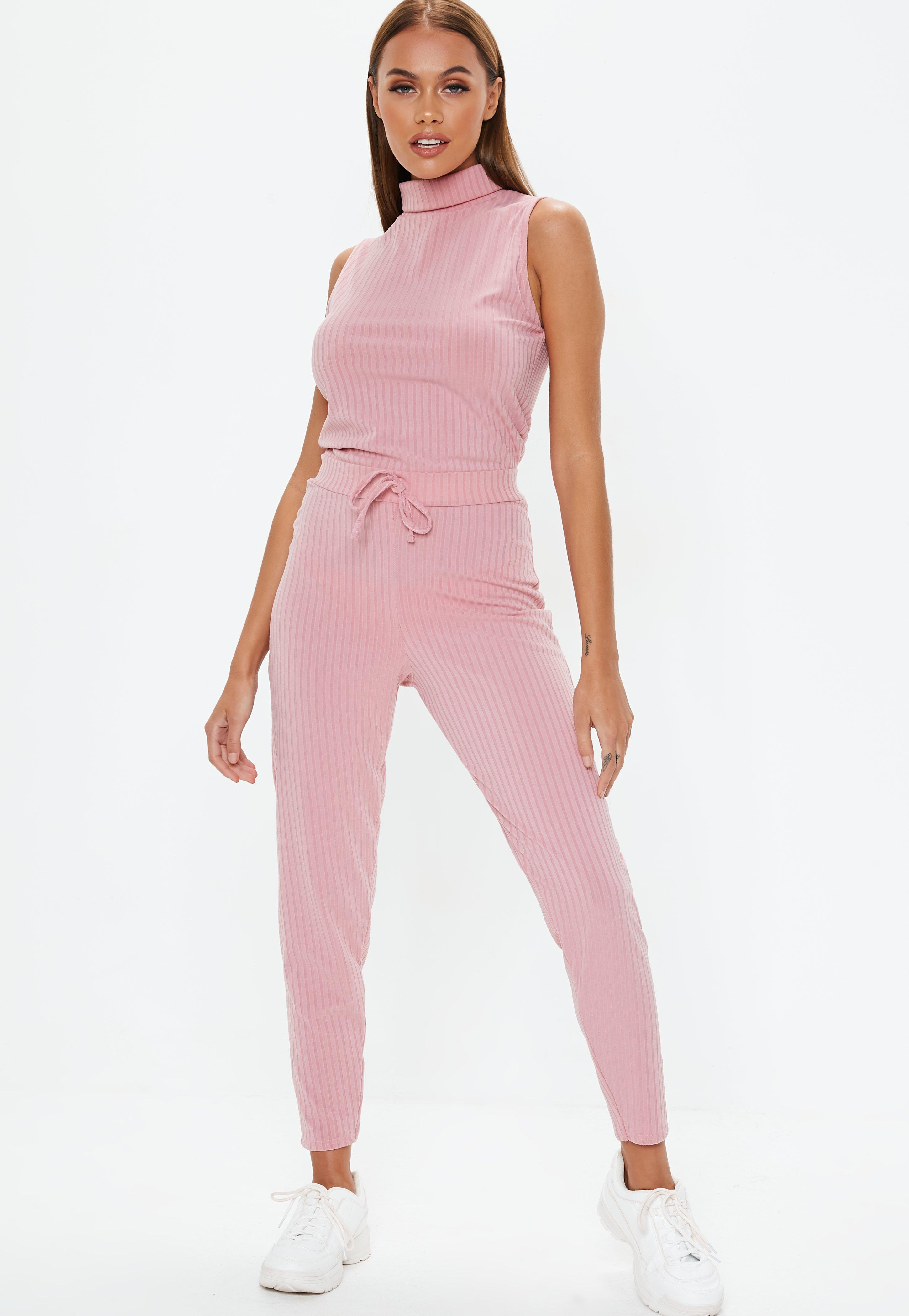 304a1a4c724 Rose Pink Roll Neck Ribbed Jumpsuit