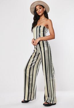 592dbf31e0b2 Silver Multi Stripe Sequin Bandeau Jumpsuit