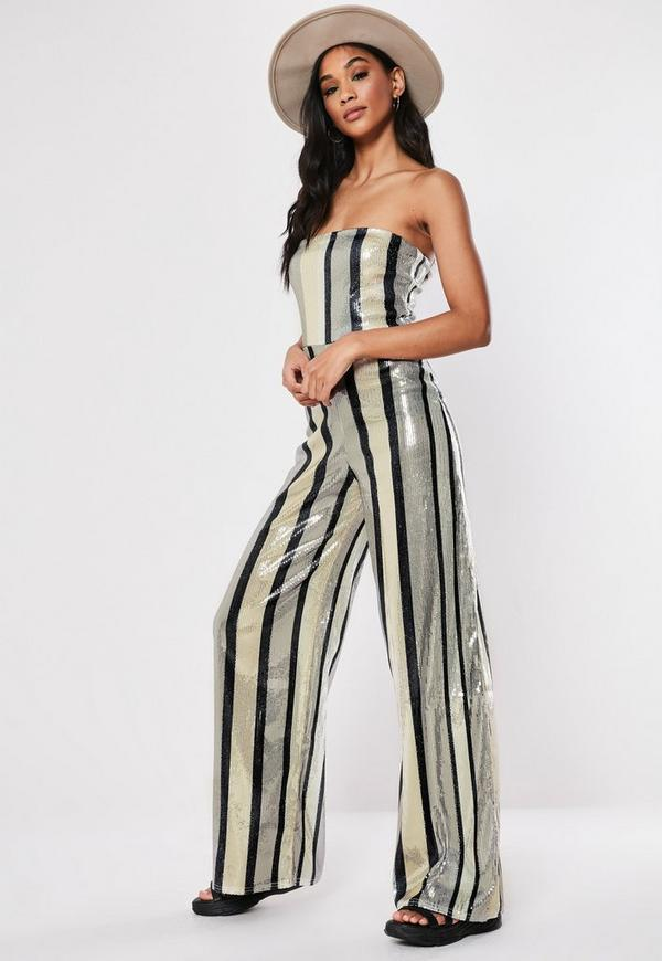 Silver Multi Stripe Sequin Bandeau Jumpsuit | Missguided