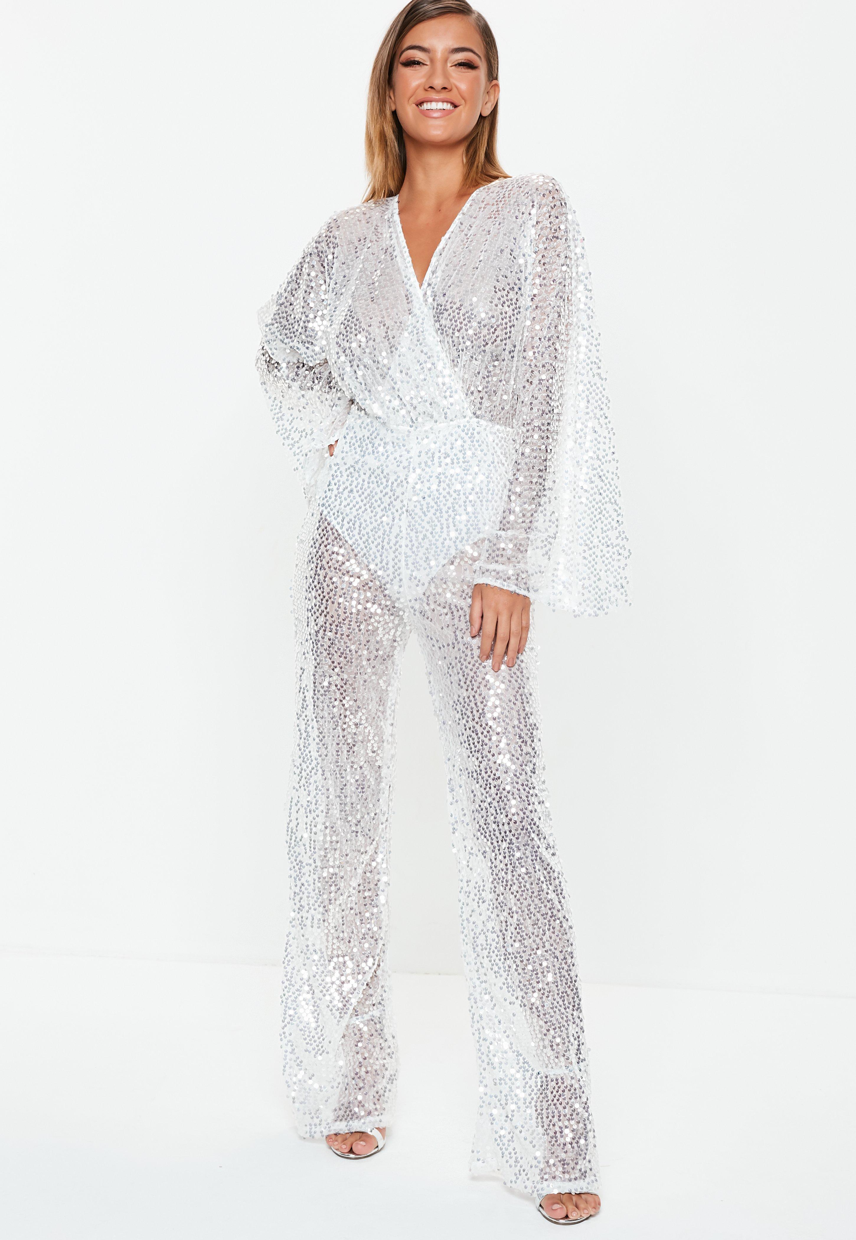 0c23aa37e944 premium silver sequin plunge jumpsuit