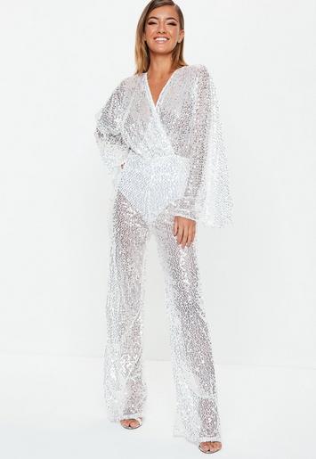 2ec7820930d premium silver sequin plunge jumpsuit