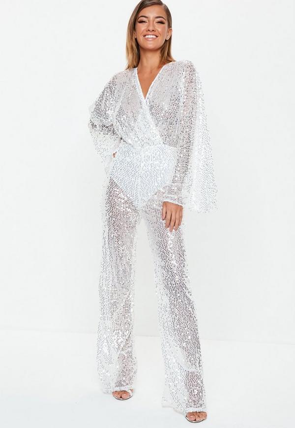 4f18a7fe2c26 barbie x missguided pink jersey long sleeve pyjama set. $60.00. premium  silver sequin plunge jumpsuit