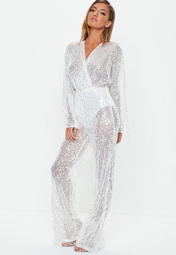 0bd7709e339 premium silver sequin plunge jumpsuit. Previous Next