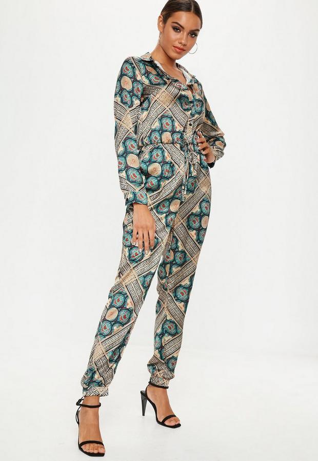Tile Printed Satin Boiler Suit