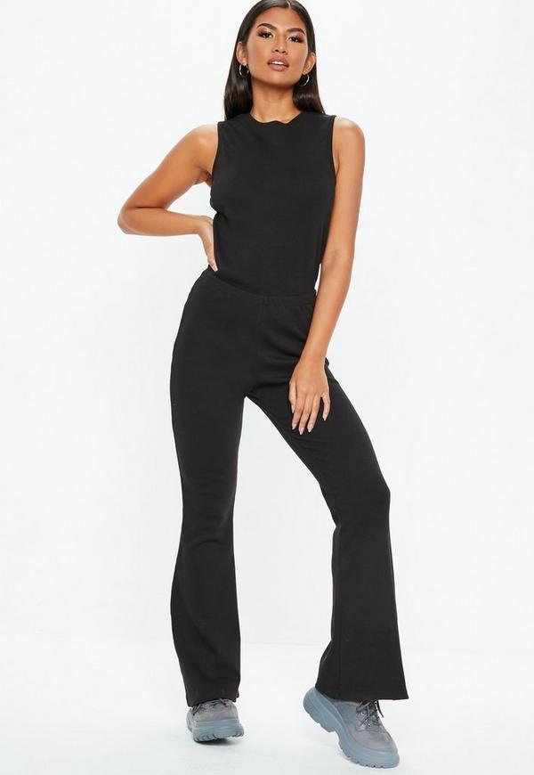 5a1212bc5bfc Black Rib Flare Leg Sleeveless Jumpsuit